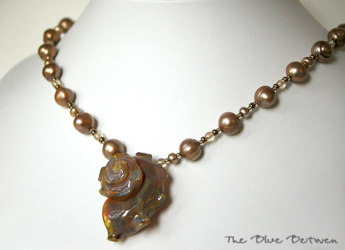 Lampwork Glass Shell Necklace
